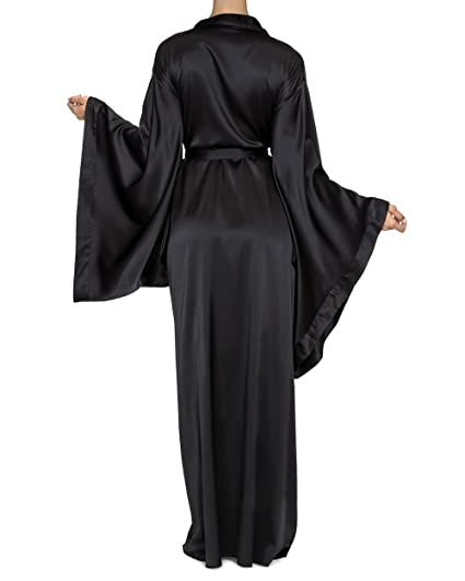 041ed1666 Nudwear Long Kimono Robe for Women Luxury Silk with Japanese Sleeves Black  at Amazon Women's Clothing store: