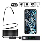 Wireless Endoscope, Foho WiFi Endoscope Borescope with 2.0 Megapixels 1200P HD Snake Camera 8 Adjustable LED Light for Android/iOS Smartphone, MAC/Windows Tablet - 16.5FT
