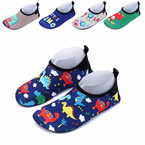 Baby Water Shoes Aqua Socks Toddler Beach Wet Shoes for Pool Swimming Early Walking(Dinasour-Navy 26-27) by Pokenis