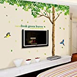 Wall Sticker Super Large Green Leaves Tree Birds Paper Home Decal Removable Wall Vinyl Living Room Bedroom PVC Art Picture Murals DIY Stick for Adults Teems Kids Nursery Baby