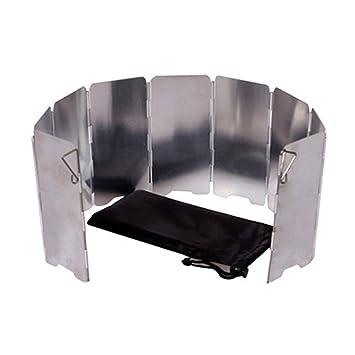 TENDUAGEN 9 placas de parabrisas plegable para camping cocina gas estufa aluminio parabrisas pantalla: Amazon.es: Deportes y aire libre