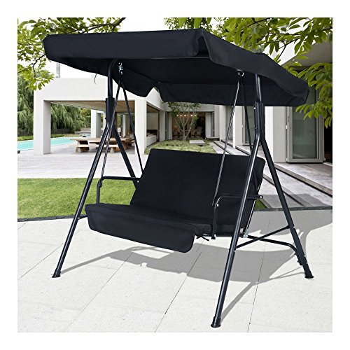 Black Outdoor Patio Swing Canopy Awning Yard Furniture Ha...