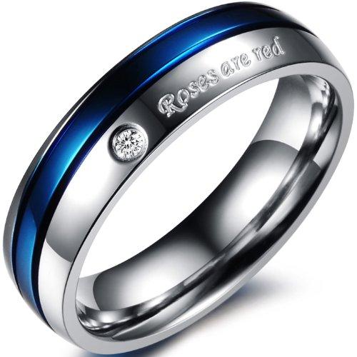 JewelryWe Bijoux Bague Homme Engagement Mariage Acier Inoxydable Anneaux Fantaisie Couleur Argent Bleu Largeur 6mm Avec Sac Cadeau(Taille de Bague Optionnel)