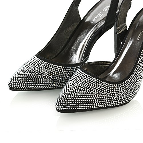 ESSEX GLAM Womens Bridal Shoes Satin Diamante Ladies Slingback Party Prom Point Toe Courts Black Satin Wo0sm