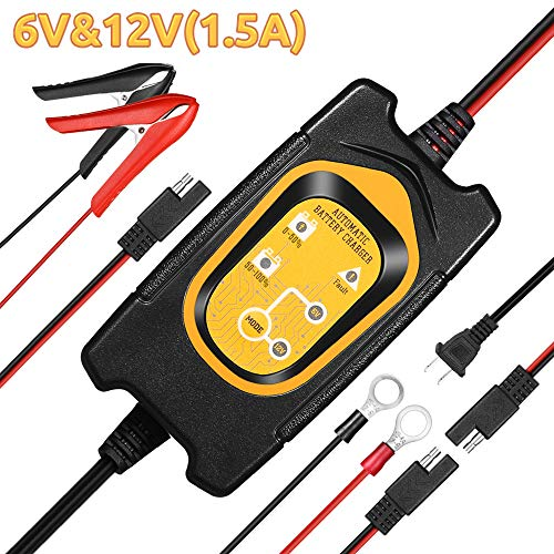 Upgrade 1.5A 6V/12V Battery Trickle Charger/Maintainer with Cable Clamps for Car Motorcycles RVs ATVs Boat SLA GEL AGM SEALED WET CELL Normal Lead Acid Batteries