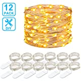 Govee 12 Packs Fairy String Lights, 3.3FT 20 LEDs Battery Operated Jar Lights Bedroom Patio Wedding Party Christmas(Warm White)