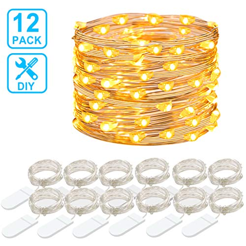 MINGER 12 PCS Fairy Lights, 3.3FT 20LED Copper String Lights Battery Operated Starry Light for DIY Centerpieces Jars Vases Bedroom Wedding Party Chrismas