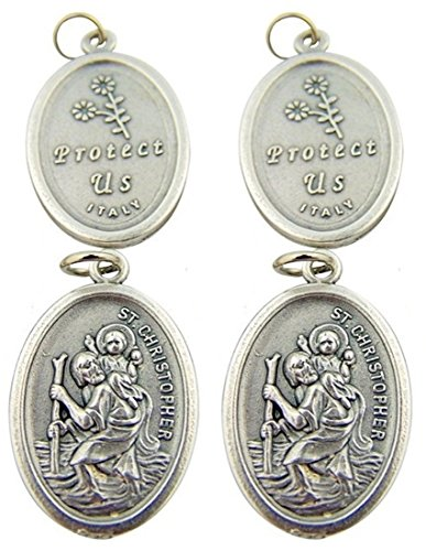 Silver Toned Base Catholic Saint Christopher Oval Medal Charm, Lot of 4, 1 Inch ()