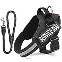 "Pawaboo Service Dog Vest Harness + Dog Leash, Premium Durable Reflective Dog Vest Harness with 2 Reflective Removable ""SERVICE DOG"" Velcro Patches + 19"" Braided Rope Dog Leash, Extra Large Size, BLACK"
