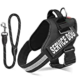 "Pawaboo Service Dog Vest Harness + Dog Leash, Premium Durable Reflective Dog Vest Harness with 2 Reflective Removable Velcro Patches + 19"" Braided Rope Dog Leash, Large Size, BLACK"