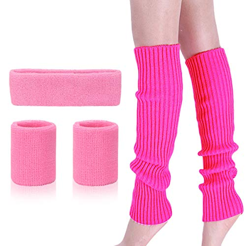 Adult Barbie Halloween Costume (Womens 80s Neon Running Headband Wristbands Knit Leg Warmers Sports Set, Hot Pink, One)