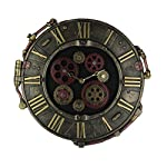 Resin Wall Clocks Steampunk Bronze Finish Rivet Plate Wall Clock With Moving Gears 14.5 X 14.5 X 1 Inches Bronze 6