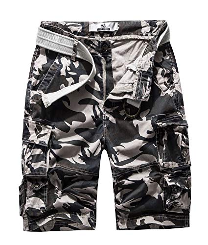 Women's Cotton Butt Lift Multi-Pockets Camouflage Casual Twill Bermuda Cargo Shorts with Belt US 6