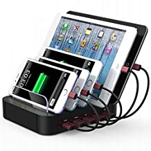 Charging Station, FeBite 5 Ports 30W USB Charging Docking Station for iPhone 7/7 Plus/6/6s/Plus, SE/5S/5, iPad Pro/Air/Mini/4/3/2, Samsung Galaxy S7 Edge/S6/S5/S4/S3/Note/Note2/Tab, iPod, Nexus, HTC
