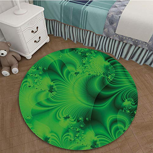 Color Printed Carpet Anti-Slip Floor Rug Soft Baby For Living Room Bedroom 2.62 Ft Diameter Lime Green,Vibrant Abstract Hazy Psychedelic Wavy Color Background Hippie Digital Artificial -