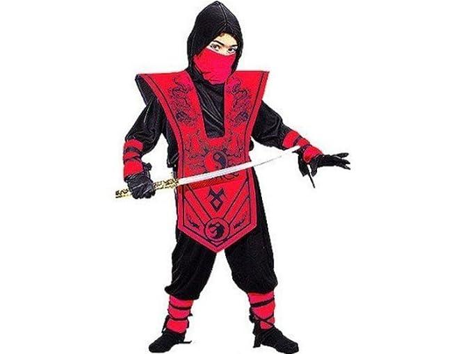 Amazon.com: Fun World Boys Complete Ninja Costume Red M 8-10 ...