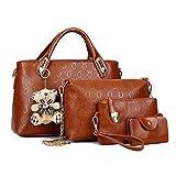Women Handbag,Women Bag, Shoulder Bag Purse KINGH 4 Piece Tote Vintage Style PU Leather 018 Brown