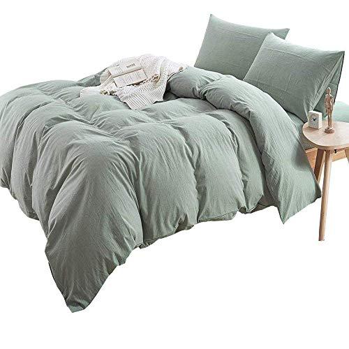 (AMWAN Super Soft Solid Green Duvet Cover Set King Lightweight Washed Cotton Bedding Set Hotel Quality Fresh Duvet Comforter Cover Set Zipper Closure Cotton 3 Piece Bedding Collection King)
