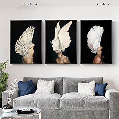 Eth 3pcs Set Black Frame Nordic Minimalist Abstract Body Art White Wings Decorative Painting Wall Painting Mural 30 40 40 60cm High Definition Micro Spray Bedroom Home Living Room Sofa Hotel Modern Mi Buy Online At Best Price
