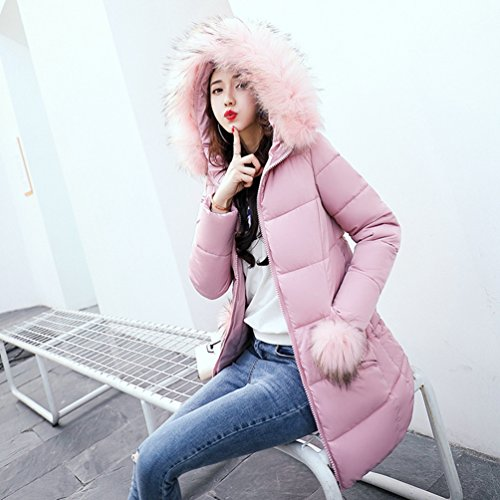 Femme Cotton Long Collar Capuche Winter Veste Rose Sections Jacket Big À Wanyang UgBzta1Sq1