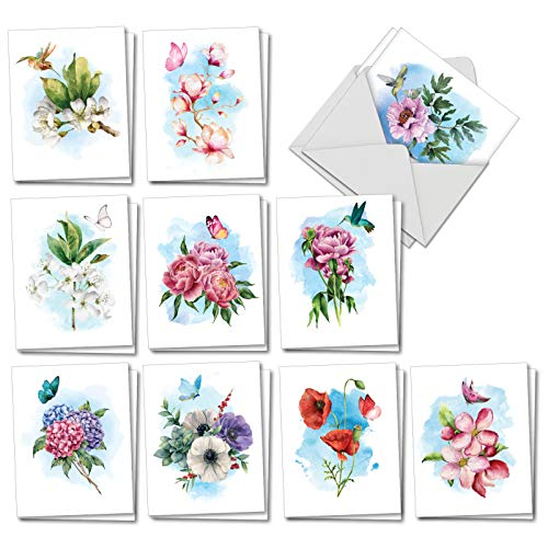 Watercolor Blossoms, Birds, Butterflies - 20 All Occasion Blank Cards with Envelopes (4 x 5.12 Inch) - Gorgeous Assorted Flowers - Boxed Floral Note Card Set (10 Designs, 2 Each) AM7164OCB-B2x10