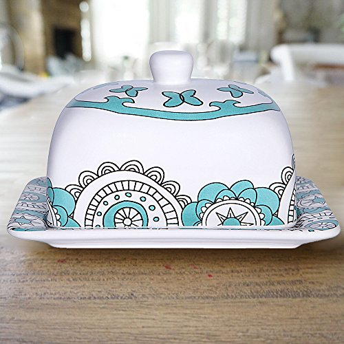 Butter Dish Keeper Large with Lid Cover, 7 Inch Porcelain, Holds Up to 2 Sticks of Butter, Mothers Day Gift, Mint Blue