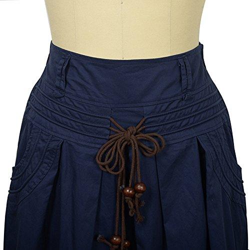 Longue Oudan Ceinture des mi lgante Jupe Jupe Femmes A Femmes Jupe Taille Haute Bleu Ligne qwBq7Rr