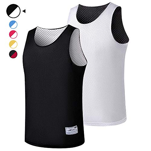 ALFGO Mesh Tank Top | Durable & Breathable Jersey 100% Polyester for Basketball, Soccer& Football | Moisture Wicking Reversible Jersey for Training | Gift of 3 Wristbands (Black/White, Medium)