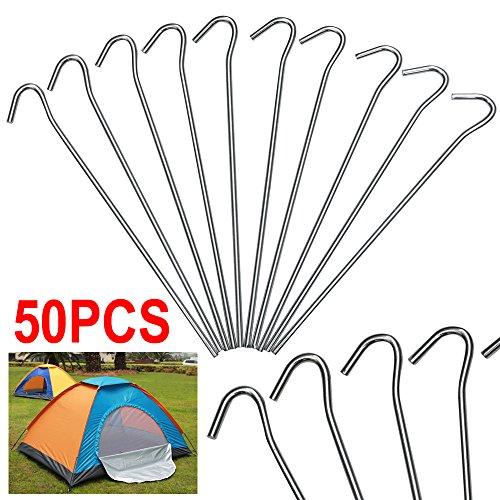 Yahee Heringe Zeltheringe Zeltnagel für die Befestigung der Zelten, Tornetzen, Fischernetzen, Markisen Länge: 20cm / Durchmesser: 4mm 50stk