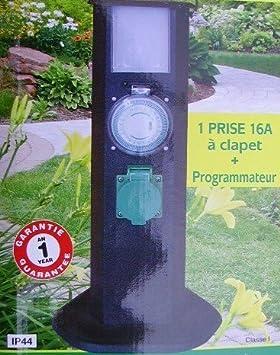 BORNE ELECTRIQUE PROGRAMMABLE LAMPE PRISE JARDIN EXTERIEUR AVEC  PROGRAMMATEUR ETANCHE