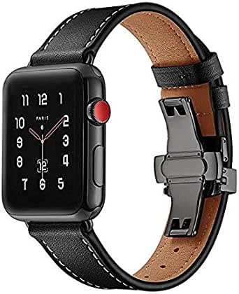 for Apple Watch Band 40mm/38mm, Calfskin Leather Strap Replacement Band with Metal Butterfly Buckle for Apple Watch Smart Watch Series 4/3/2/1 (Black Buckle)