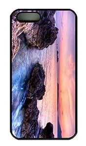 iPhone 5S Case - Customized Unique Design Purple Evening Skies New Fashion PC Black Hard