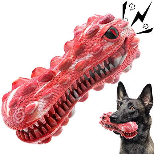 Dog Toys for Aggressive Chewers Large Breed, Squeaky Dog Chew Toys for Medium Large Dogs, 100% Natural Rubber
