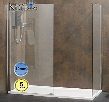 900mm Walk In Shower Panel with 900mm Side Panel-10mm Thick Glass ...