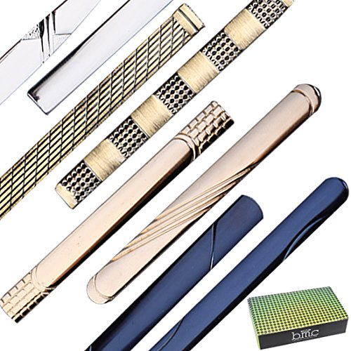 Gold W Bar Fashion 8 Assorted Designs Business Silver Metal Dandy Finishes Clip Clasps Dapper set Brass Of amp; Mens Blue Bmc Tie Professional x48qIqY