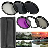 58MM Lens Filter Accessory Kit UV, CPL, FLD + ND Neutral Density Filter Set (ND2, ND4, ND8) + Lens Hood