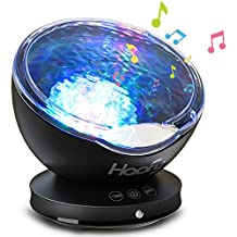 Night Light Projector,Haofy Ocean Wave Projector with Built-in Mini Music Player 7 Colors Changing Night Lamp for Baby Kids Mommy Bedroom Living Room Party Dating (Black, 12 LEDs)