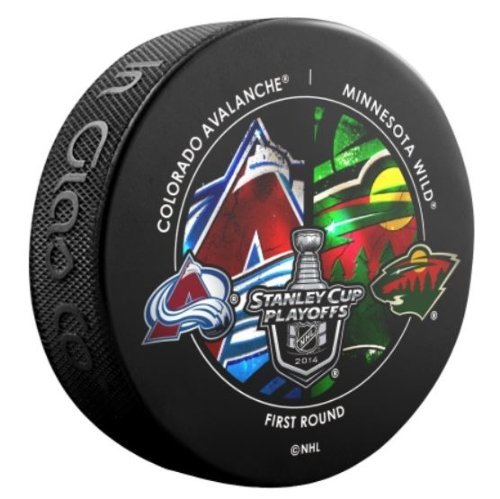 2014 NHL Stanley Cup Playoffs Colorado Avalanche vs. Minnesota Wild Souvenir Dueling Hockey Puck Sher-Wood