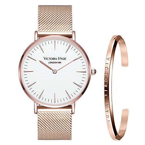 VICTORIA HYDE Women's Wrist Watches with Bangle Gift Set Mash Band Stainless Steel Silver/Rose Gold