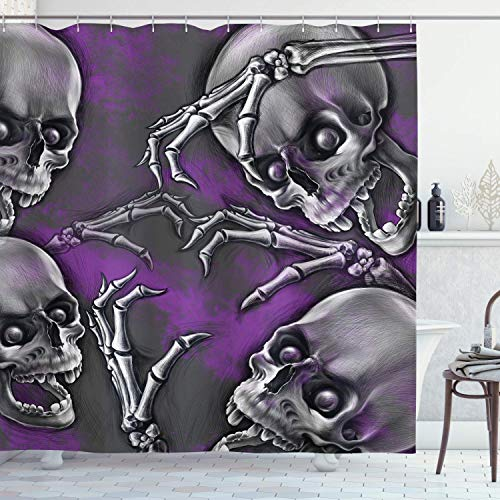 Big Boned Skeleton (rfy9u7 71 X 79 Inch Skull Shower Curtain Scary Creepy Spooky Happy Smiling Skeleton with Boned Hand Artwork Print Purple)