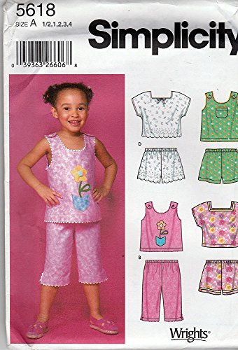 Simplicity 5618 ©2003 Toddlers' Top, Shorts and Pants; Size A (1/2, 1,2,3,4) (Vintage Wardrobe Company)