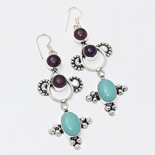 Amethyst, Sky Blue Agate Earring Silver Overlay Fashion Jewellery Designer Dangle Bohemian 3 Inches.