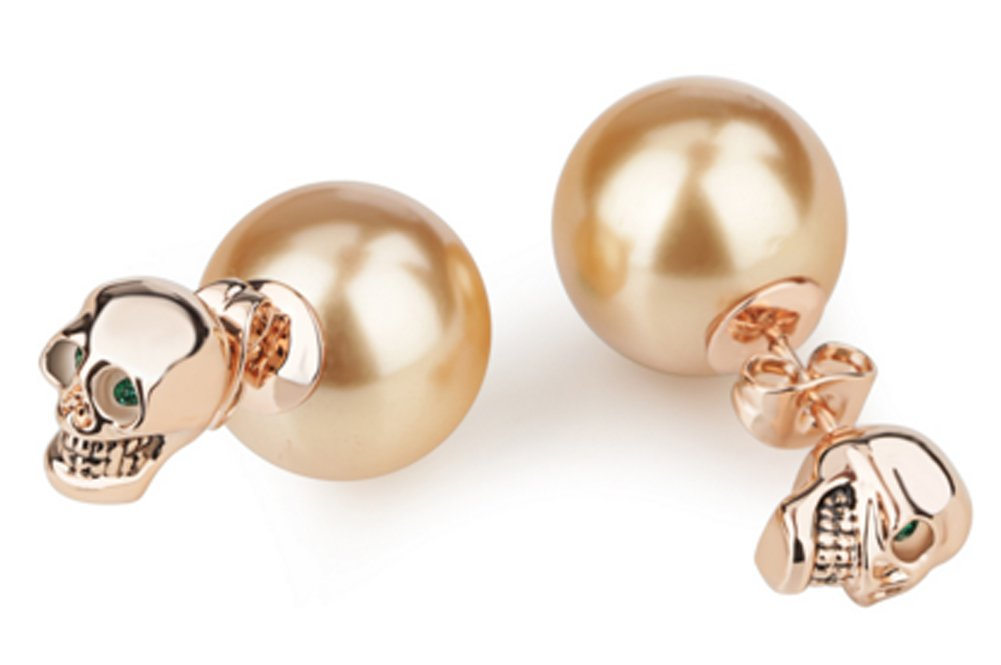 SaySure - 18K Rose/White Gold Plated Pear Beads Two-way Stud Earrings
