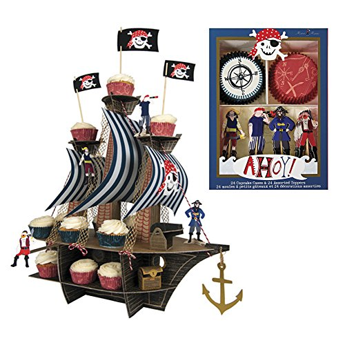 Meri Meri Ahoy There Pirate Ship Centerpiece and Cupcake Kit