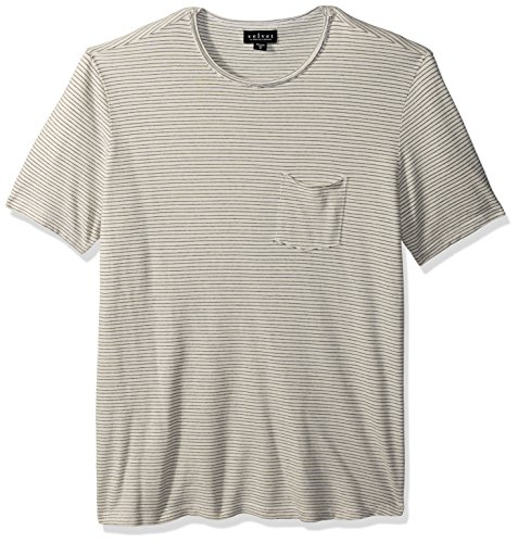 Natural Stripe Shirt - Velvet by Graham & Spencer Men's Velvet's Stripe Pique Tee Shirt, Natural, Small
