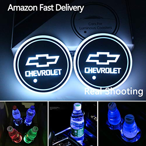 2pcs LED Car Cup Holder Lights for Chevrolet, 7 Colors Changing USB Charging Mat Luminescent Cup Pad, LED Interior Atmosphere Lamp from Interesting car