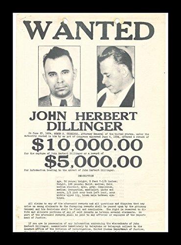 - 8 x 10 All Wood Framed Photo Wanted John Dillinger