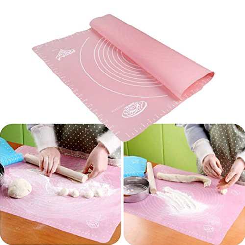 Silicone Dough Kneading Mat With Scale Pink - 2