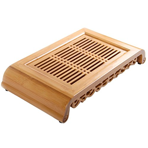 Tea Talent Reservoir Type Bamboo Tea Tray - Japanese / Chinese Gongfu Tea Table Serving Tray Box for Kungfu Tea Set 15.7 x 8.6 x 2.7 Inch, Natural Color Black Bamboo Handled Serving Plate