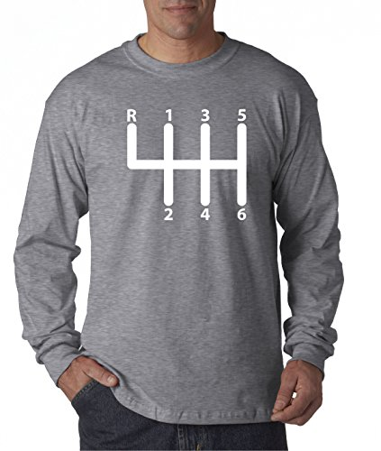 New Way 870 - Unisex Long-Sleeve T-Shirt Shift Pattern 6 Speed Manual Transmission Clutch Large Heather Grey ()